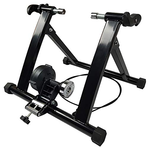 Bike Trainer Stand for Indoor Riding 24quot28quot Foldable Bicycle Riding Exercise Machine with Magnetic Flywheel with Stepless Speed Change Wire Control Adjuster amp Front Wheel Riser Block for Road Bike