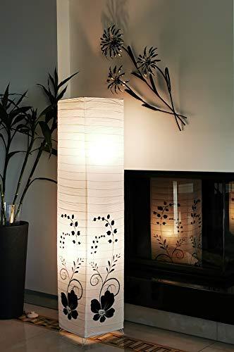 Trango 1210 Design Stehlampe *GREECE* Reispapierlampe *HANDMADE* in Weiß mit floralem Motiv I inkl. 2x E14 Fassung I Form: eckig I Höhe: ca. 125cm I Wohnraumlampe I Stehleuchte I Reispapier