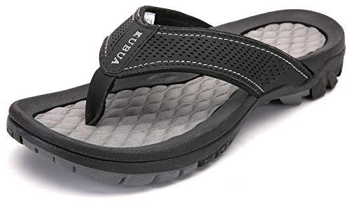 KUBUA Men's Beach Flip-Flops Outdoor Athletic Thong Sandals