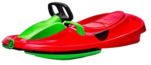 Airjoy Lenkbob Kunststoffrodel Schlitten Snow Champ Deluxe - Red-Green