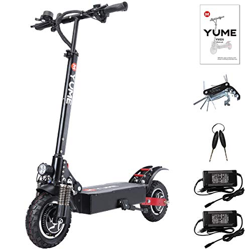 """Yume D5 Powerful Dual Motor Electric Scooter for Adults, 52V 2400W 10"""" Off Road Tires E-Scooter, Up to 40 Mile & 40 MPH Fast Kick Scooter, 330lbs Max Load Weight Folding Pro Scooter"""