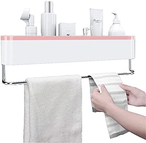 WWJ Toallero para baño montado en la Pared Toallero para baño Baño Toallero para baño con Pared Caja de Almacenamiento sin Perforaciones Barra de Toalla para Colgar en la Pared (Color: Pink)