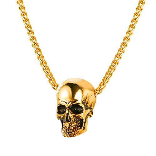 YYJL 4 Style Gothic Horn Evil Devil Demon Skull Pendant Necklace Stainless Steel The Eyes of Horus Hip Hop Necklace Jewelry for Men 8