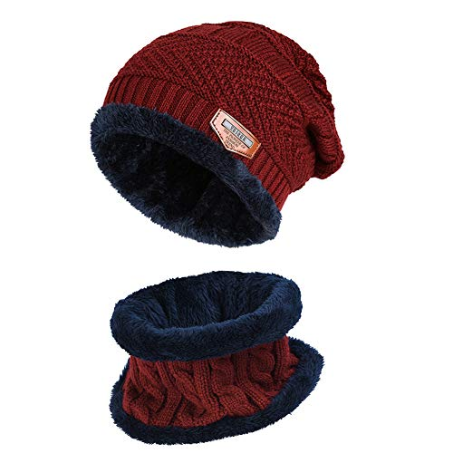 VBIGER 2-Pieces Winter Beanie Hat Scarf Set Warm Knit Hat Thick Knit Skull Cap for Men Women Red