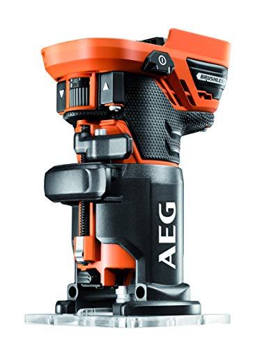 AEG BOF18BL-0 - Fresadora de bordes inalámbrica (18 V, motor sin escobillas, fresadora para manejo con una mano, profundidad de fresado ajustable, sin batería)