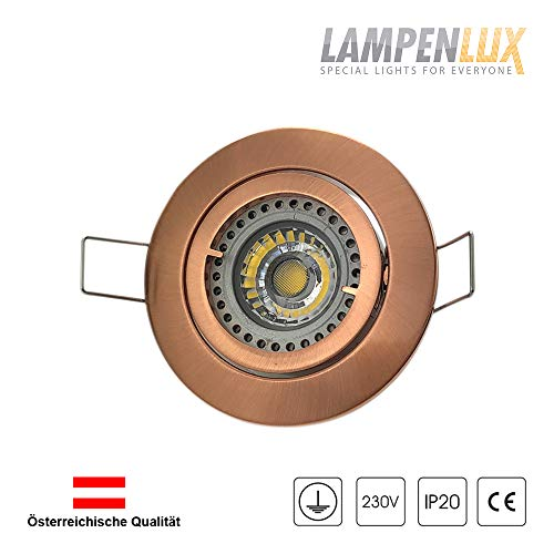 Lampenlux LED Einbaustrahler Samila rund schwenkbar Spot 230V Aluminium (kupfer antik, ohne...