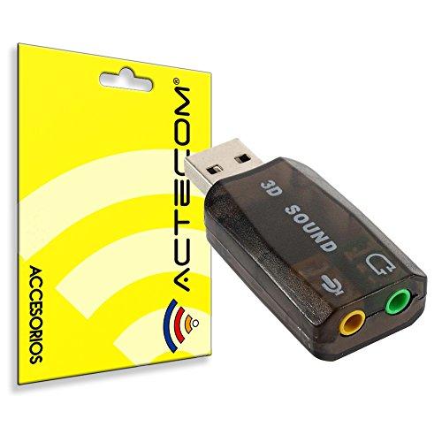 actecom® Tarjeta de Sonido Externa USB 3D 5.1 Entrada Audio Salida Mic Micro Micrófono Negra Adaptador Extraíble Jack 3,5mm TRS