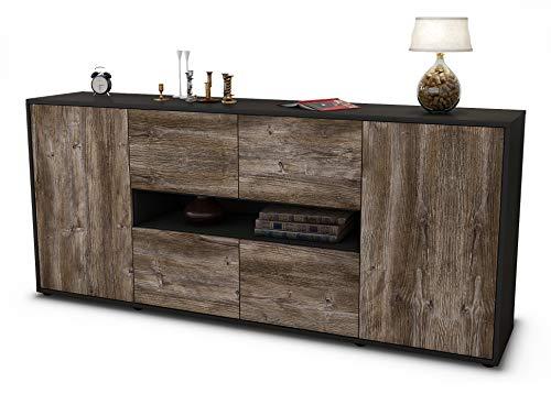 Stil.Zeit Sideboard Farina/Korpus anthrazit matt/Front Holz-Design Treibholz (180x79x35cm) Push-to-Open Technik