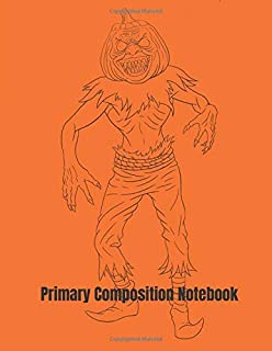 Primary Composition Notebook: Jack-o'-lantern Man Halloween Primary School Practice Paper