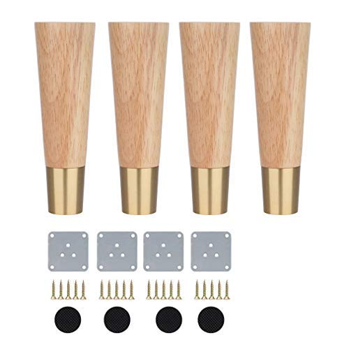 Pack of 4 Wood Furniture Parts Sofa Legs,Oak Wooden Furniture Legs,Replacement Feet,with Brass Feet,Mounting Plate and Screws,for Sofa Bed Cabinet,Three Colors Available(Wood color10cm/3.9in