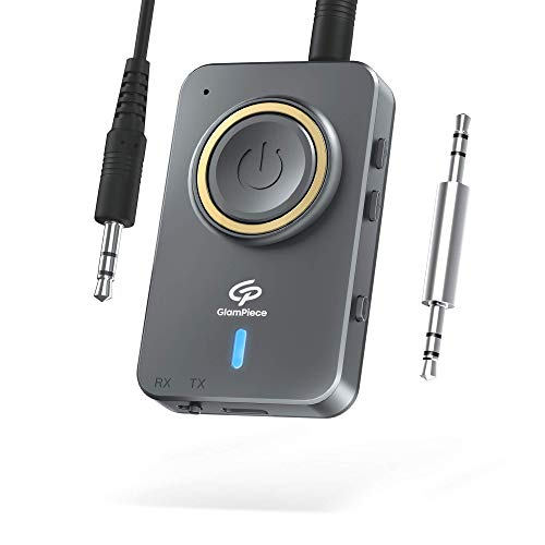 MOSRACY Aux Bluetooth Adapter 5.0 Bluetooth Transmitter Empfänger 2-in-1, Wireless Bluetooth Sender/Receiver mit Aptx-LL, 3,5mm AUX Kable und Typ C Ladekabel, für TV PC Kopfhörer Stereoanlage