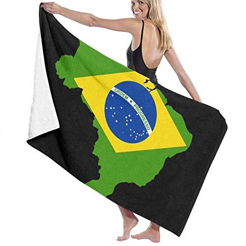 QUEMIN Mapa de la Bandera de Brasil Toallas de Playa Negras para Mujeres y Hombres Manta de Piscina de Viaje Multiusos de Secado rápido Grande 32 x 52 Pulgadas / 80 x 130 cm
