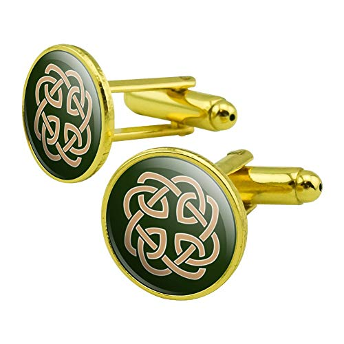 GRAPHICS & MORE Celtic Knot Love Eternity Round Cufflink Set Gold Color