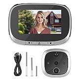 Timbre Inteligente inalámbrico Timbre de Video 4.3in 720P HD Timbre Inteligente Cámara de Video de visión Nocturna Visor de Puerta PIR Seguridad del hogar(Plata)