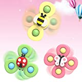 3Pcs Butterfly Cartoon Spinning Suction Toys Suction Cup Spinning Top Bath Toy for High Chair, Glass, Wall Mount Spinning Top Baby Fidget Spinner Anti Anxious Stress Fidget Toys