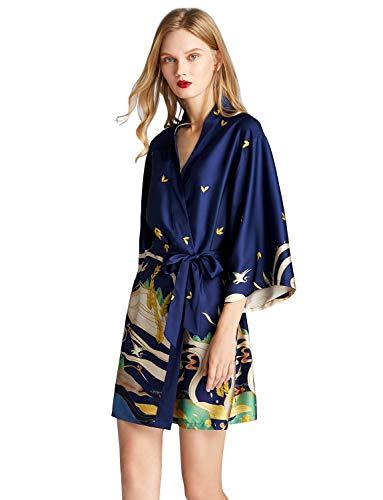 ZAPZEAL Peignoir Court en Satin pour Femme Kimono à Manches Courtes avec Ceinture col en V et col en V Motif Paon et Fleurs - Bleu - X-Large