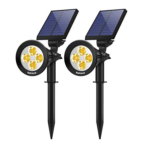 Nekteck 2 Pack Solar Lights,2-in-1 Outdoor Solar Spotlights Powered Adjustable Wall Light Landscape...