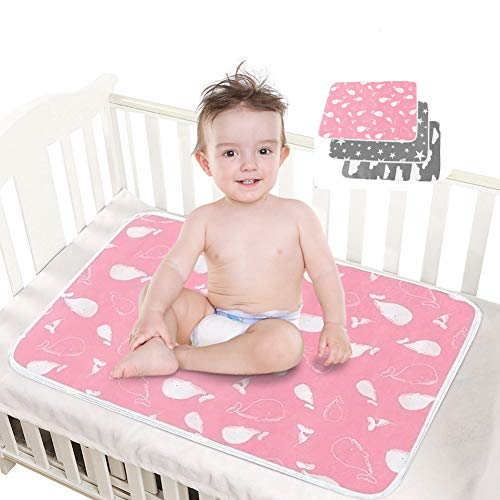 HahaGo 3 Pack Baby Changing Mats Travel Portable Change Pad Washable Cotton Diaper Mat Waterproof Sheet Foldable Nappy Newborn & Infant Liner Bed Pads(White Clouds & Gray Starry Sky & Anime Whale)