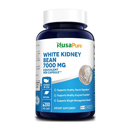 White Kidney Beans 7,000 mg 200 Veg Capsules - Extract 20:1, Vegetarian, Gluten-Free and Non-GMO. Supports Healthy Enzyme Function and Healthy Digestion*