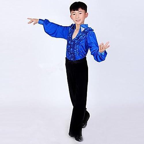 Tanz-Outfit wudaofu Latin de Danse austattungen (Noir Bleu Blanc, élasthanne Polyester, Latin de Danse) fürkinder Pantalons Haut Manches Longues Haut