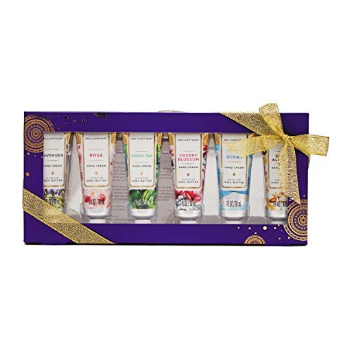 Spa Luxetique Hand Cream Gift Set, Shea Butter Hand Cream for Dry Hands, Travel Moisturizing Hand Lotion with Natural Aloe and Vitamin E for Dry Skin, Best Gift Set for Women. Pack of 6,1.0 oz Tube.
