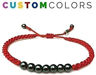 RUMI SUMAQ Custom Bangle Bracelet | Customized Fiber Color Mens and Women's Beaded Macrame Friendship Bracelet with Lucky 7 Hematite Stones