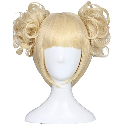 ColorGround Blonde Cosplay Wig and 2 Detachable Buns with Clips