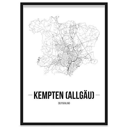 JUNIWORDS Stadtposter, Kempten (Allgäu), Wähle eine Größe, 21 x 30 cm, Poster mit Rahmen, Schrift B, Weiß