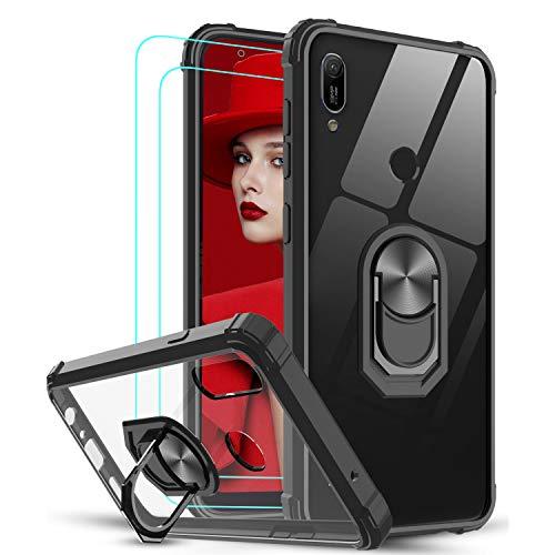 LeYi per Cover Huawei P20 Lite con Vetro Temperato [2 Pack],Trasparente Custodia Rigida Silicone con Anello Rinforzata Antiurto Bumper per Custodie Huawei P20 Lite Nero
