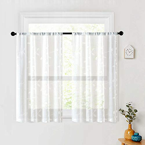 MRTREES Sheer White Tier Curtains Leaves Embroidery Curtain Flroal Embroidered Living Room Bedroom Curtain Panels 30 x 36 inch Drapes Pole Pocket Window Treatment 2 Panels