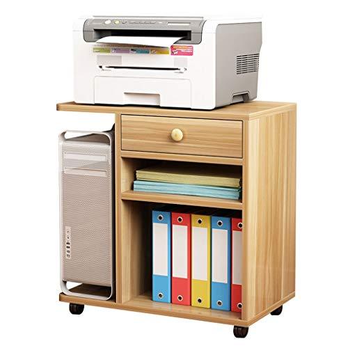 Escáner Estante Almohadillas Impresora soporte de madera multicapa Host PC Caja de libro de la carpeta de almacenamiento en rack con ruedas for su movilidad giratoria, 45KG Capacidad, blanca Soporte p