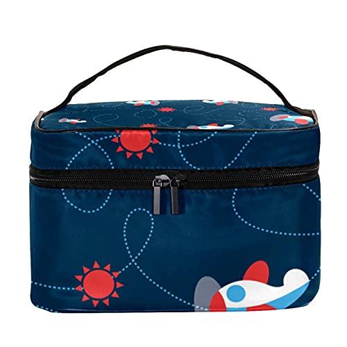 Bolsa de maquillaje cosmética titular de cepillo de viaje bolsa de aseo portátil, avión de bebé azul marino