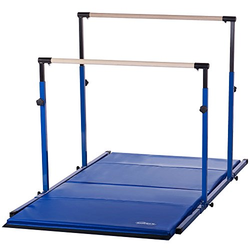 Nimble Sports Blue 3Play Gymnastics Bars - Parallel Bars - Uneven Bars with Blue Tumble Mat Combo