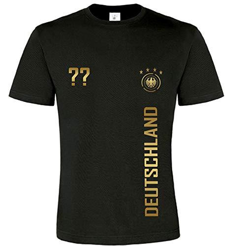 Kinder T-Shirt Fußball Trikot WM / EM Deutschland Trikot in verschiedene Grössen für Jungen und Mädchen mit WUNSCHNAME UND WUNSCHNUMMER INDIVIDUALISIERBAR (Schwarz, 152/164)