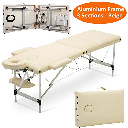 3 Sectie inklapbaar Draagbare Massage Tafel Bench Eye Lash's Beauty Salon Therapie Tattoo Care Bank Bed, PU Leder&Aluminium Frame, w/Carrier Bag, Beige