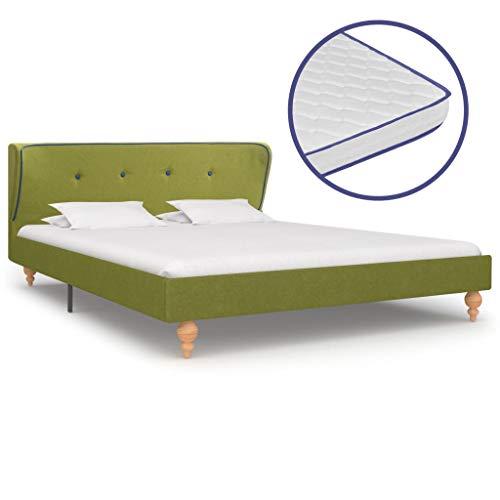 Festnight Bed met matras ledikantvoet voor volwassenen Kinderen stof groen 140x200 cm