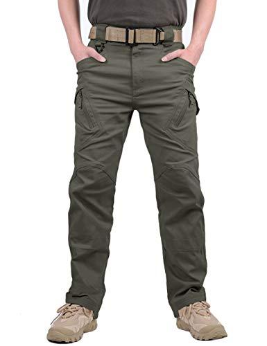 MAGCOMSEN Herren Draussen Dauerhaft Multi Taschen Entspannt-Fit Taktisch Cargohosen Arbeitshose, Armee Grün, 32