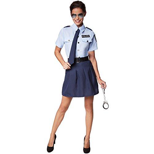dressforfun Frauenkostüm Polizistin | Kurzer Rock, der die Beine betont | Cooles, sexy Hemd mit Police-Aufdruck | Inkl. Handschellen (S | Nr. 301513)