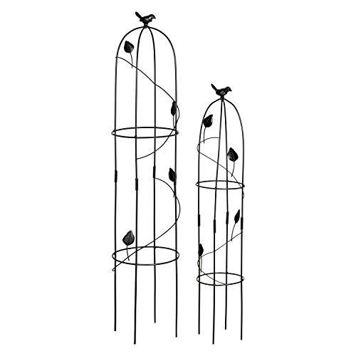 1PLUS Metall Rankhilfe Obelisken Set, 2 Stück, Höhe: 80,5 und 100 cm, in versch. Farben - rost-geschützte Garten Rosen Säule (Harkness, Schwarz)