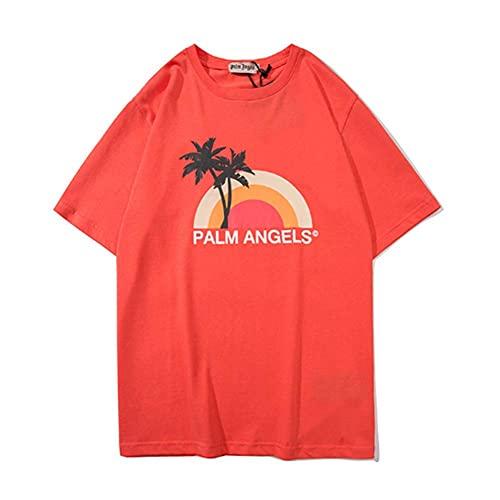 Evening Sunset Coconut Palm - Camiseta de manga corta para hombre y mujer, color naranja
