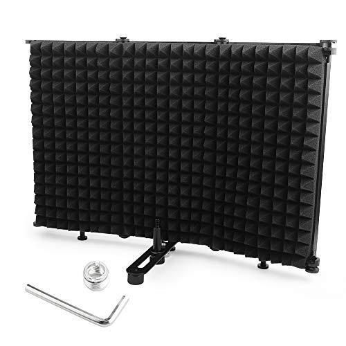 WS-03 Micrófono Pantalla insonorizada portátil parabrisas de tres puertas, pantalla insonorizada plegable con absorción de sonido, reducción de ruido y función de barrera de ruido