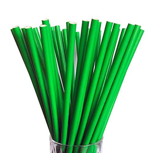 LUXENTU Strohhalme Trinkhalme aus Papier - 100, 300, 500 oder 1000 Stück - (100 Stück, Grün/Jumbo)