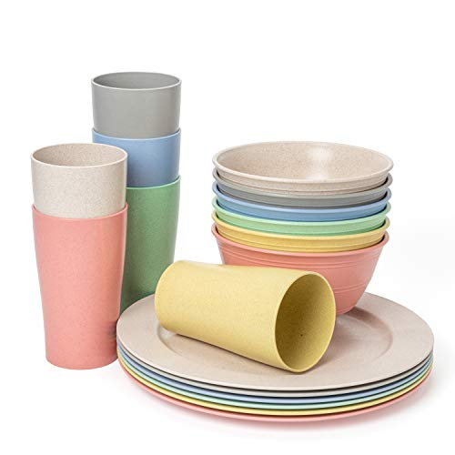 Euodia Wheat Straw Plastic Dinnerware Sets for 6 (Dinner Plates, Bowls & Cups) - Dishwasher & Microwave Safe – Unbreakable Reusable Lightweight Eco Friendly BPA Free – Outdoor Camping Dishes