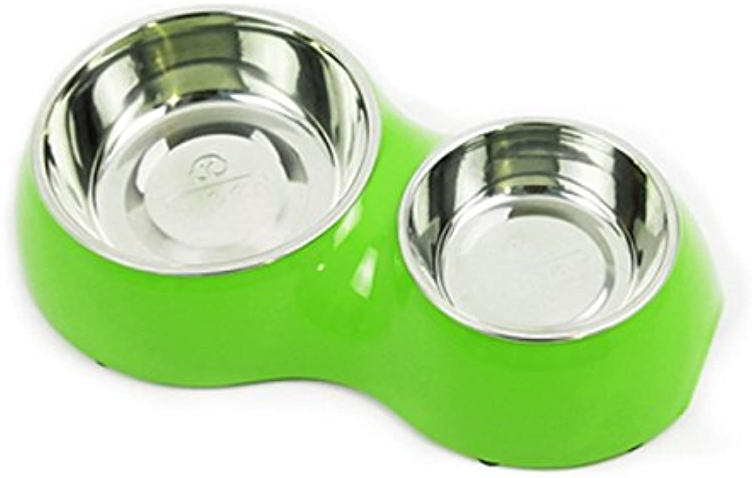 gold Wing Round Base Non Slip Dual Pet Dog Cat Stainless Steel Melamine Feeding Station Diner Food Water Bowl Green L