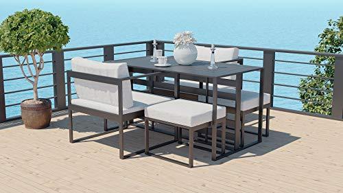 ARTELIA Aredo Alu Loungemöbel Set - Aluminium Premium Gartenmöbel Set für Terrasse, Garten und Wintergarten, Terrassenmöbel Anthrazit