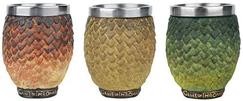 Juego de Tronos 3 tazas de huevo de dragón en un conjunto de joyas caja de...