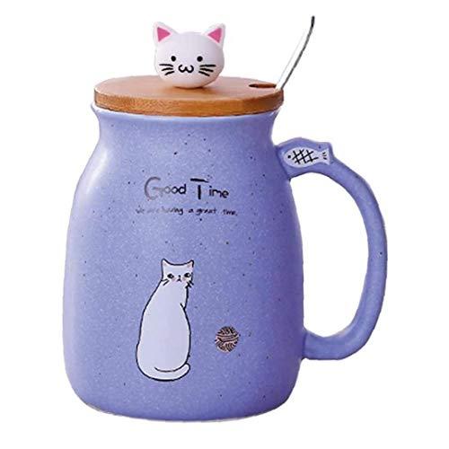 Taza De Cerámica Taza De Café Con Tapa Y Cuchara Oficina Del Vaso De Dibujos Animados Del Gato Recorrido De La Taza De Té Púrpura Taza De Mamá
