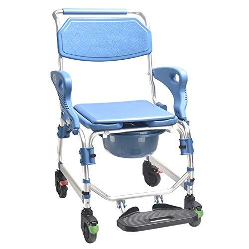 Sedia vasino Anziani Vasca a rotelle toletta Sgabello Sedia vasino Sedia vasino puleggia puleggia Sedia Balneazione for disabili (Size : 698ABlue)
