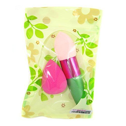 DOLOVEMK Lot de 2 éponges de maquillage avec pinceau et éponge douce pour estomper la beauté (vert et rose)