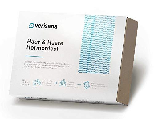Verisana, Kit test ormonale Skin & Hair Balance Plus per cortisolo, estradiolo, testosterone, progesterone, DHEA, test di laboratorio in caso di perdita di capelli e impurità della pelle